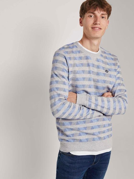 Gemustertes Sweatshirt - Männer - grey streaky stripe - 5 - TOM TAILOR Denim