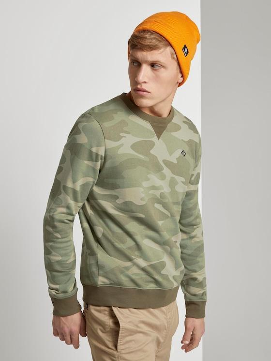 Gemustertes Sweatshirt - Männer - khaki stripe camou print - 5 - TOM TAILOR Denim
