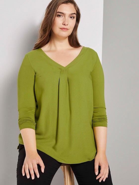 Langarmshirt mit Faltendetail - Frauen - wood green - 5 - My True Me