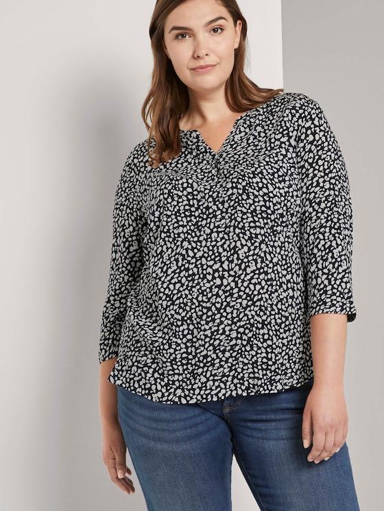Gemusterte Henley-Bluse - Frauen - navy abstract leopard design - 5 - My True Me