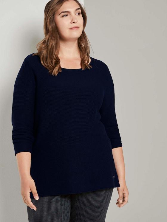 Curvy - Pullover mit Streifenstruktur - Frauen - Sky Captain Blue - 5 - My True Me