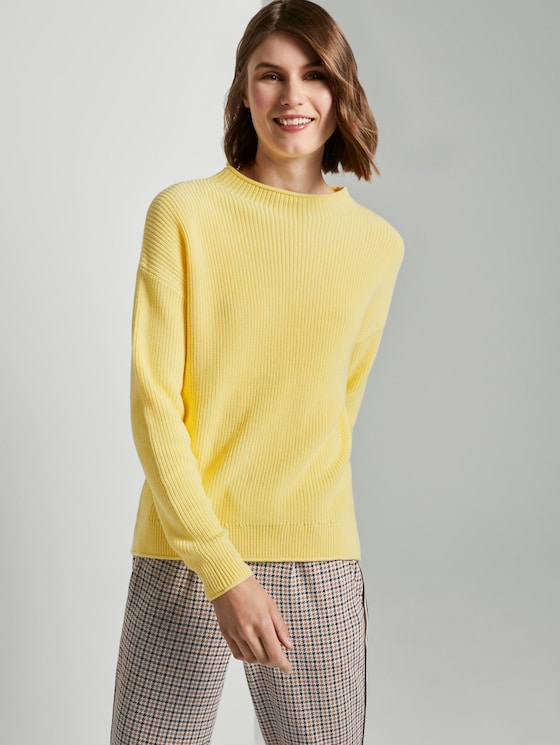 Ribbed jumper with a stand-up collar - Women - honey popcorn - 5 - TOM TAILOR