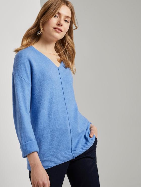 Pullover mit V-Ausschnitt - Frauen - sea blue melange - 5 - TOM TAILOR