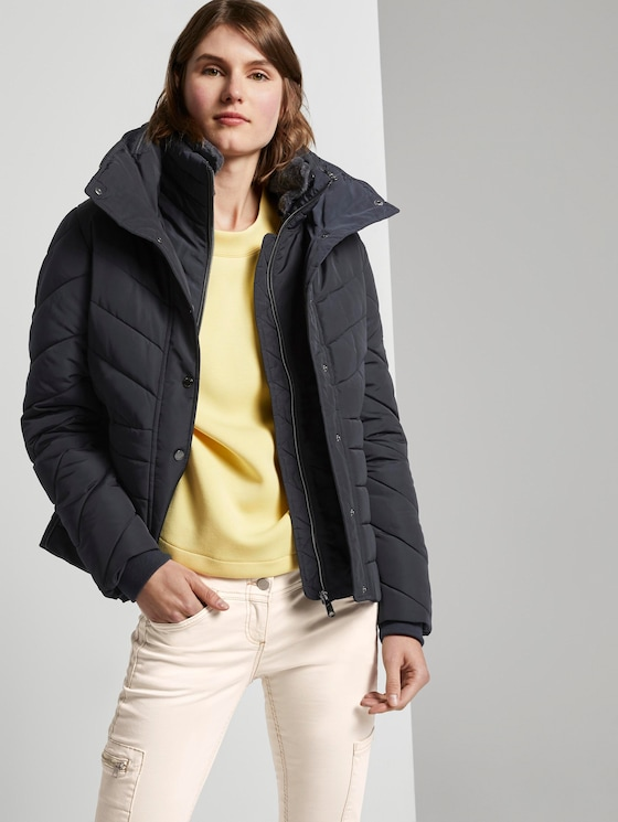 Puffer quilted jacket with a fur collar - Women - Sky Captain Blue - 5 - TOM TAILOR