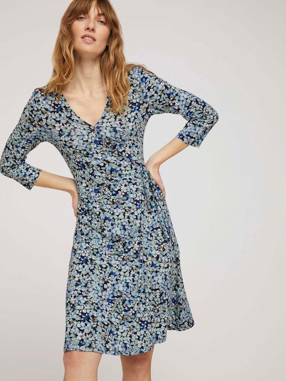 Jerseykleid in Wickeloptik - Frauen - navy floral design - 5 - TOM TAILOR