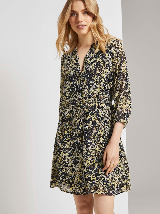 Chiffon dress with a floral print - Women - yellow flower design - 5 - TOM TAILOR