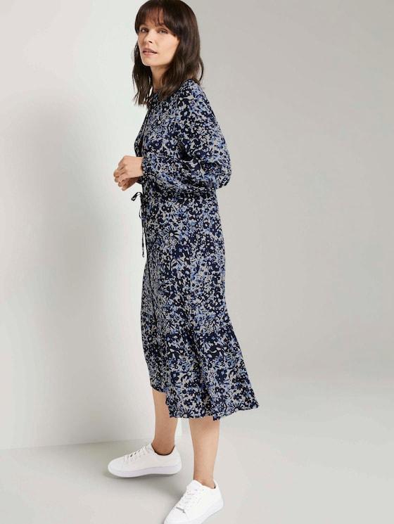 Printed dress with ruffles - Women - blue flower design - 5 - TOM TAILOR
