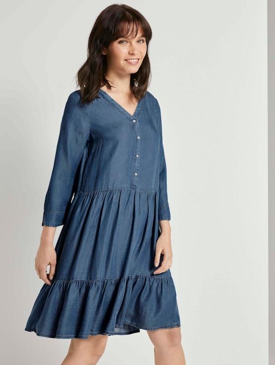 Tencel denim dress with flounce - Women - light stone wash denim - 5 - TOM TAILOR