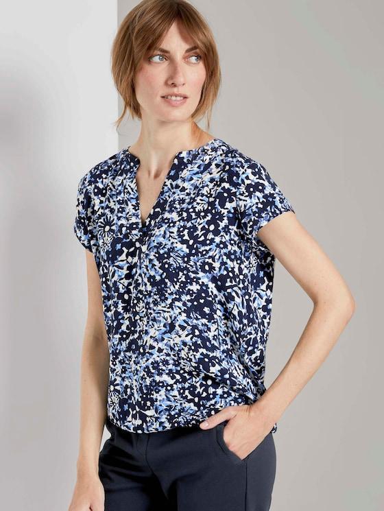 Henley-Bluse mit elastischem Bund - Frauen - blue flower design - 5 - TOM TAILOR