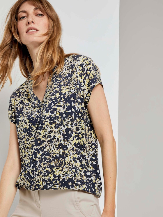 Henley-Bluse mit elastischem Bund - Frauen - yellow flower design - 5 - TOM TAILOR