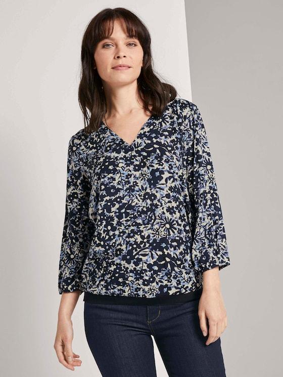 Gemusterte Bluse mit Tape-Details - Frauen - blue flower design - 5 - TOM TAILOR