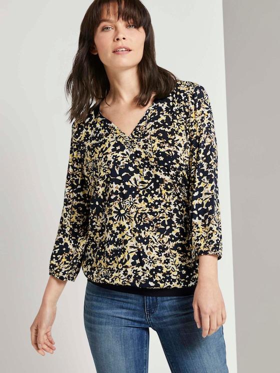 Gemusterte Bluse mit Tape-Details - Frauen - yellow flower design - 5 - TOM TAILOR