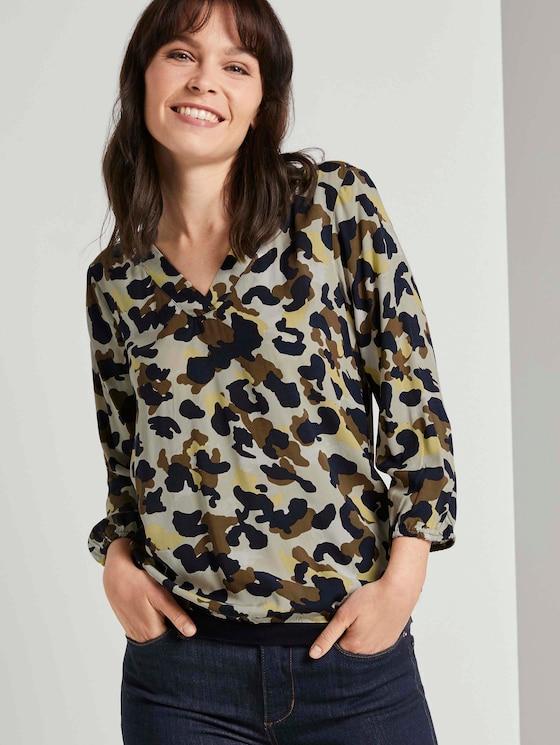 Gemusterte Bluse mit Tape-Details - Frauen - khaki yellow camouflage design - 5 - TOM TAILOR