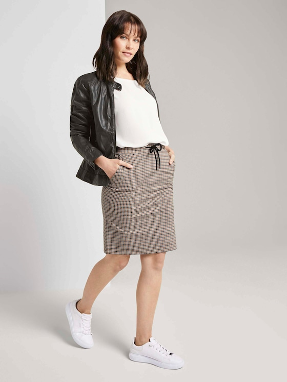 Checked jersey skirt - Women - camel small check - 3 - TOM TAILOR
