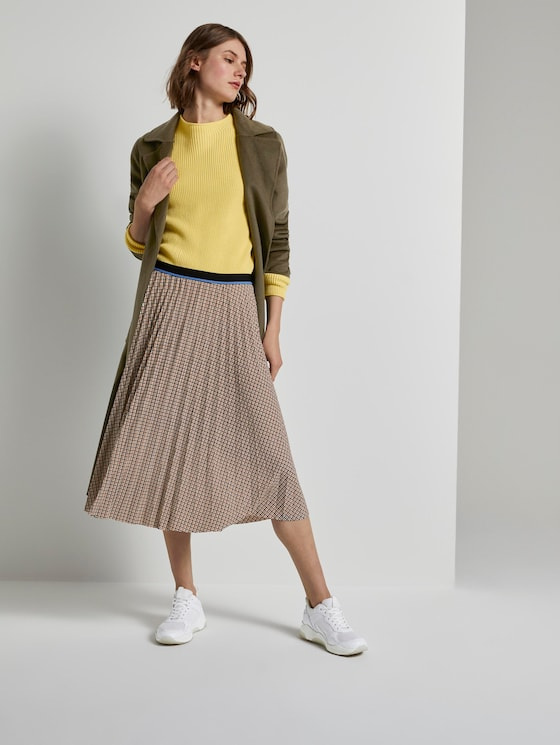 Checked pleated midi skirt - Women - camel small check - 3 - TOM TAILOR