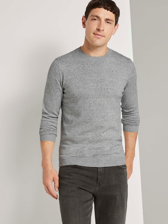 Basic Pullover in Mélange-Optik - Männer - white blue heather yarn - 5 - TOM TAILOR