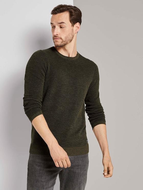 Strukturierter Pullover mit Seiteneinsätzen - Männer - olive navy plated - 5 - TOM TAILOR