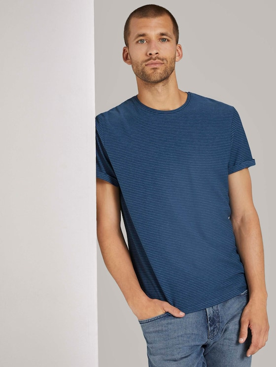 T-Shirt mit Strukturstreifen - Männer - after dark blue - 5 - TOM TAILOR