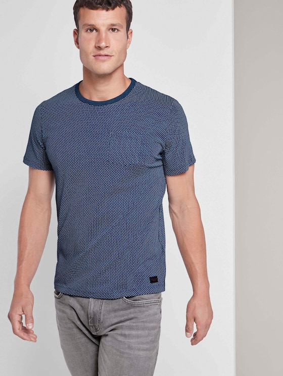 Fein gemustertes T-Shirt mit Brusttasche - Männer - after dark blue - 5 - TOM TAILOR