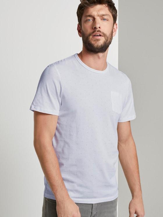 Fein gemustertes T-Shirt mit Brusttasche - Männer - White - 5 - TOM TAILOR
