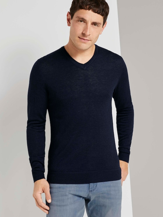 Feiner Pullover aus Merinowolle - Männer - Knitted Navy Melange - 5 - TOM TAILOR