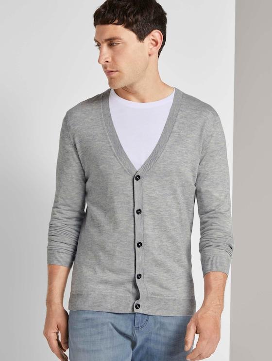 Fine merino wool cardigan - Men - Light Soft Grey Melange - 5 - TOM TAILOR
