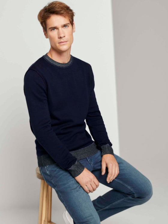 Melierter Strickpullover - Männer - blue - 5 - TOM TAILOR