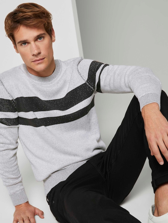 Melierter Strickpullover - Männer - white black plated stripe - 5 - TOM TAILOR