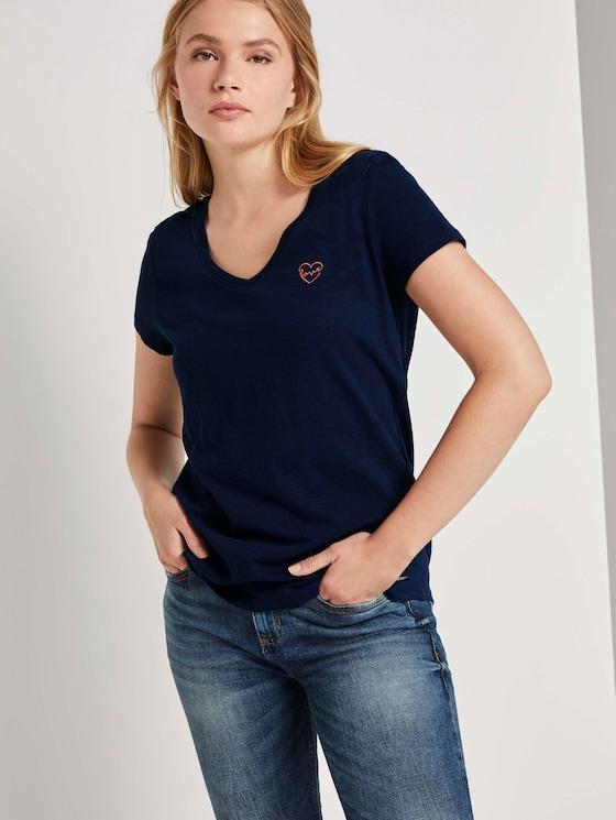 T-Shirt mit kleiner Stickerei - Frauen - Real Navy Blue - 5 - TOM TAILOR Denim