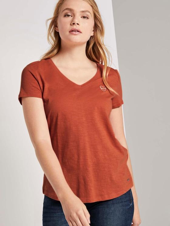T-Shirt mit kleiner Stickerei - Frauen - burnt coral - 5 - TOM TAILOR Denim