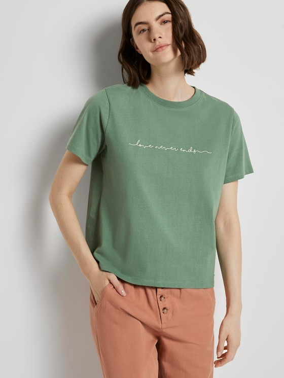 Jersey T-Shirt mit Stickerei - Frauen - vintage green - 5 - TOM TAILOR Denim
