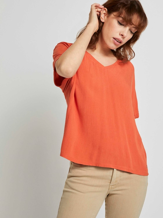 Crepe T-shirt made of a mix of materials - Women - burnt coral - 5 - TOM TAILOR Denim