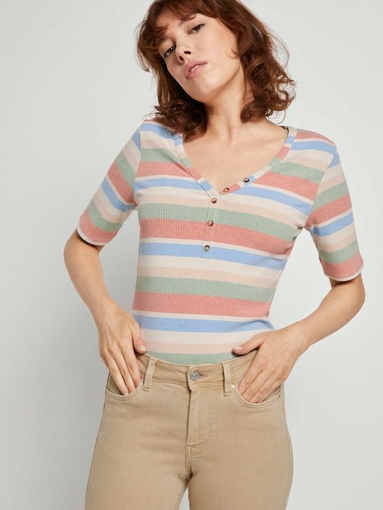 Henley-Shirt in Ripp-Optik - Frauen - multicolor stripe - 5 - TOM TAILOR Denim
