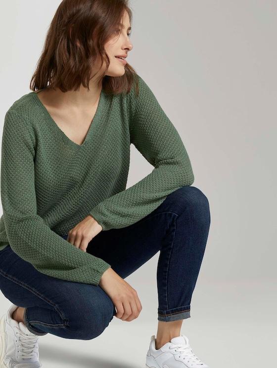 Strukturierter Pullover mit V-Ausschnitt - Frauen - vintage green - 5 - TOM TAILOR Denim