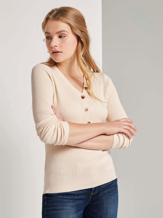 Geribde Henley Neck Pullover - Vrouwen - soft creme beige - 5 - TOM TAILOR Denim