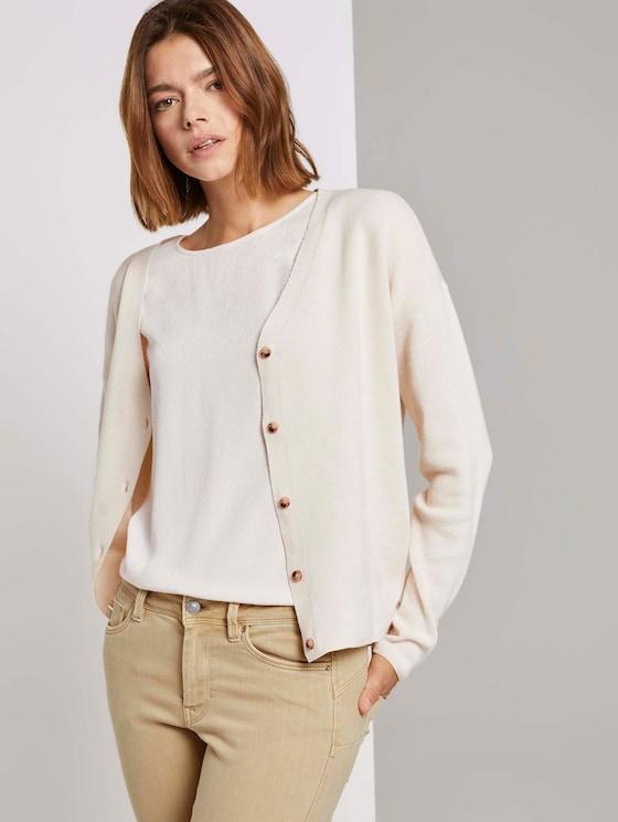 Melierter Cardigan mit Knopfleiste - Frauen - soft creme beige - 5 - TOM TAILOR Denim