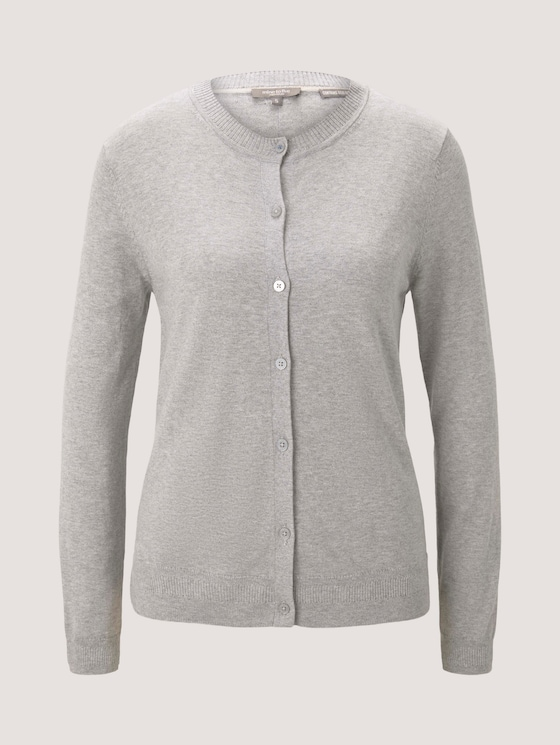 Strickjacke mit Ripp-Detail - Frauen - soft light grey melange - 7 - Mine to five