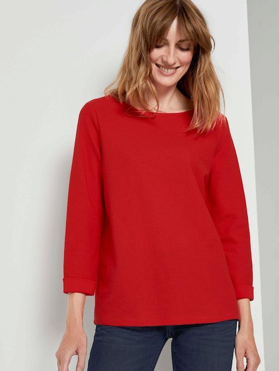 Strukturiertes Shirt mit 3/4-Arm - Frauen - Strong Red - 5 - TOM TAILOR