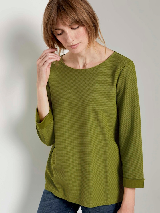 Strukturiertes Shirt mit 3/4-Arm - Frauen - wood green - 5 - TOM TAILOR