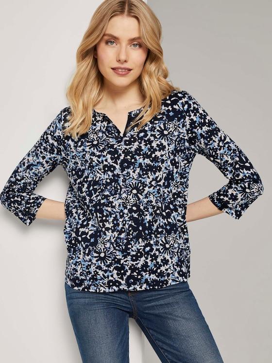 Henley-Shirt mit Blumenprint - Frauen - blue flower design - 5 - TOM TAILOR