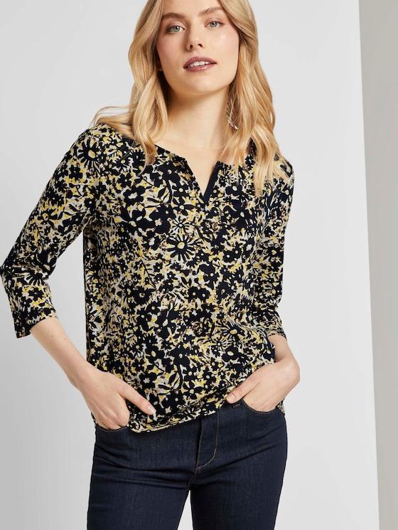 Henley-Shirt mit Blumenprint - Frauen - yellow flower design - 5 - TOM TAILOR