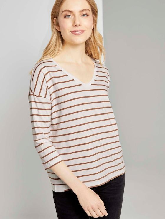 striped top with a V-neckline - Women - offwhite camel stripe - 5 - TOM TAILOR