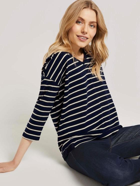 Gestreiftes Shirt mit V-Ausschnitt - Frauen - navy kitt stripe - 5 - TOM TAILOR