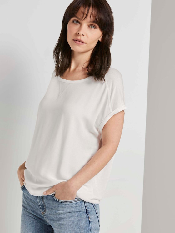 T-Shirt im Materialmix - Frauen - Whisper White - 5 - TOM TAILOR