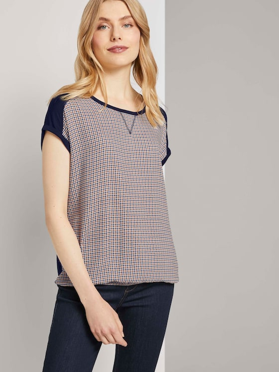 T-shirt in a mix of materials - Women - camel small check - 5 - TOM TAILOR