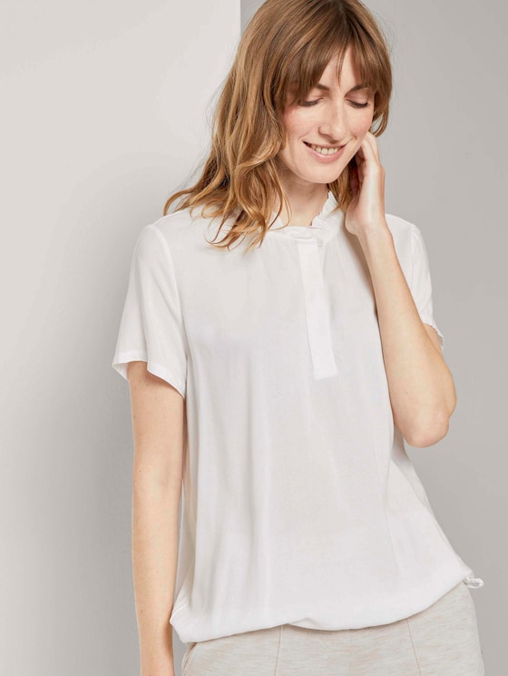 Buttoned T-shirt with ruffle details - Women - Whisper White - 5 - TOM TAILOR