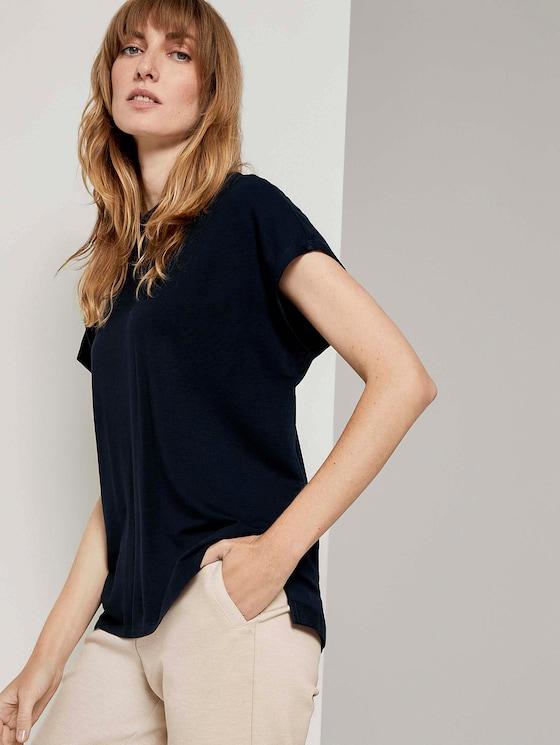 Basic T-Shirt mit Seitenschlitzen - Frauen - Sky Captain Blue - 5 - TOM TAILOR