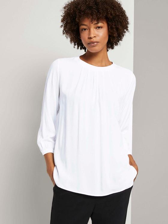 3/4-Arm Shirt im Materialmix - Frauen - White - 5 - Mine to five