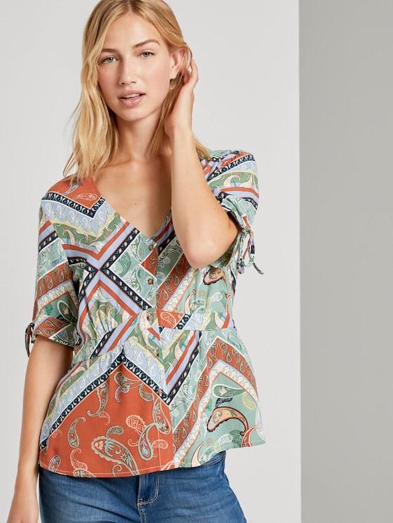 Patterned blouse with a V-neckline - Women - patchwork paisley print - 5 - TOM TAILOR Denim