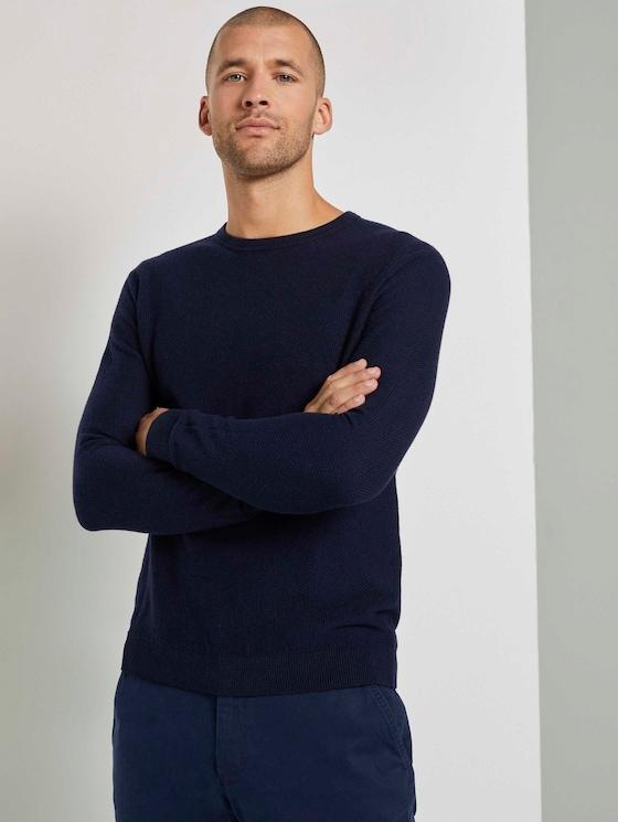 Weicher Pullover mit Struktur - Männer - Knitted Navy Melange - 5 - TOM TAILOR